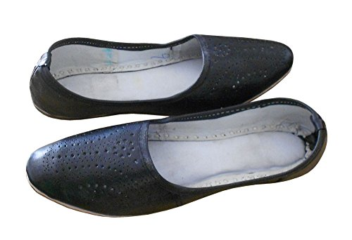 KALRA Creations Herren Traditionelle Leder indischen Designer Schuhe Schwarz