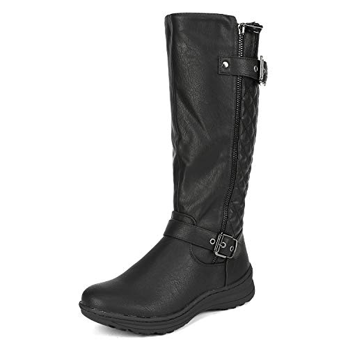 DREAM PAIRS Women's URVA Black Faux Fur Lining Retro Buckle Knee High Riding Boots Size 8 B(M) US