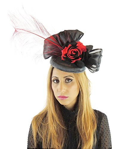 Hats By Cressida Silk Sinamay & Silk Flower Elegant Ladies Ascot Wedding Fascinator Hat Black & Red by Hats By Cressida