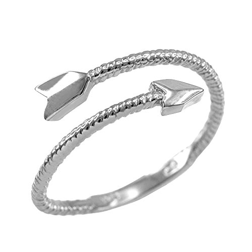 10k White Gold Twisted Rope Band Double Arrow Wrap Ring (Size 7.75) (Wrap Arrow Ring)