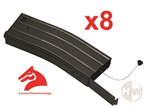 AIRSOFT M4 M16 SCAR LONEX METAL FLASH MAGAZINE MAG 360RDS ASG WITH PULL CORD UK x8 by Lonex
