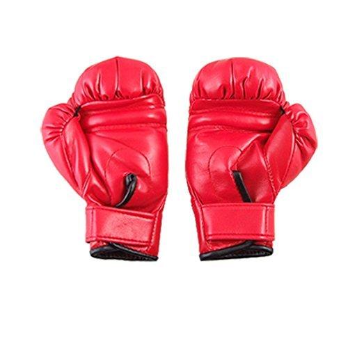 eDealMax de imitacin de Cuero Guantes nios esponja acolchada Combate de boxeo rojos