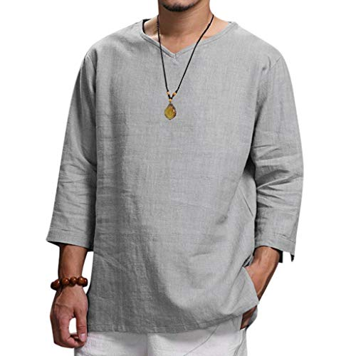 Beautyfine Men's Big T-Shirts Summer New Pure Cotton and Hemp Shirts Top Comfortable Blouse Gray