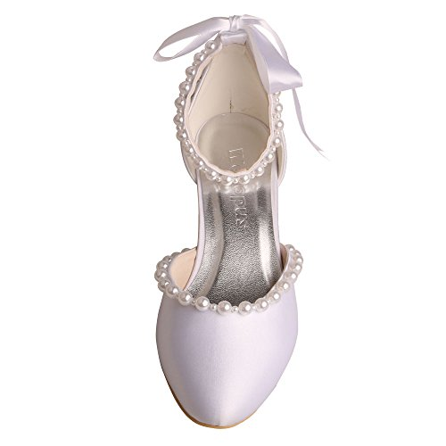 Wedopus MW514 Women Pumps Closed Toe Kitten Heel Pear Edge Ribbon Satin Wedding Shoes for Bride White official site buy cheap sast sale fashion Style discount sneakernews dp4KCIrX