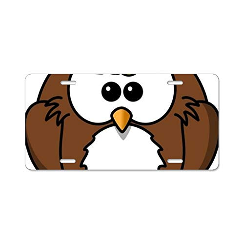License Plate Novelty Auto Car Tag Vanity Gift Owl Clipart Black and White