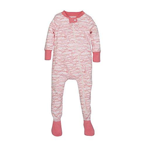 Burt's Bees Baby Baby Girls' Soft Organic GOTS Certified Print Zip Front Non-Slip Footed Sleeper Pajamas, Blossom Autumn Trees, Newborn