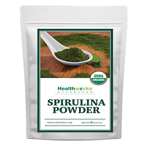 Healthworks Spirulina Powder Organic Raw (8 Ounces)   All-Natural & Non-Irradiated Algae   Great with Smoothies, Shakes & Oatmeal   Antioxidant Superfood