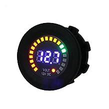 Docooler DC 12V LED Digital Display Voltmeter Waterproof for Car Boat Marine Vehicle Motorcycle Truck Digital Round Panel
