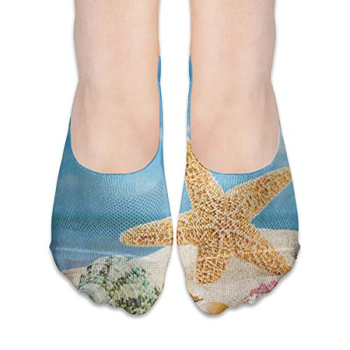 No Show Socks Sea Star Shell Beach Colorful Great Womens for sale  Delivered anywhere in USA