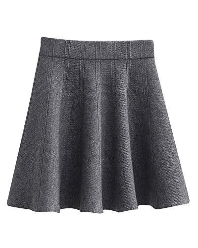 Yonglan Jupe Courte Femme Taille lastique Taille Haute Coupe Slim Jupe Fashion Jupe Plisse Gris Fonc