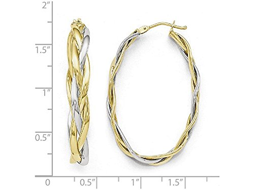 Finejewelers 10k Two-tone Polished Braided Hoop Earrings 10 kt Yellow Gold by Finejewelers (Image #1)'