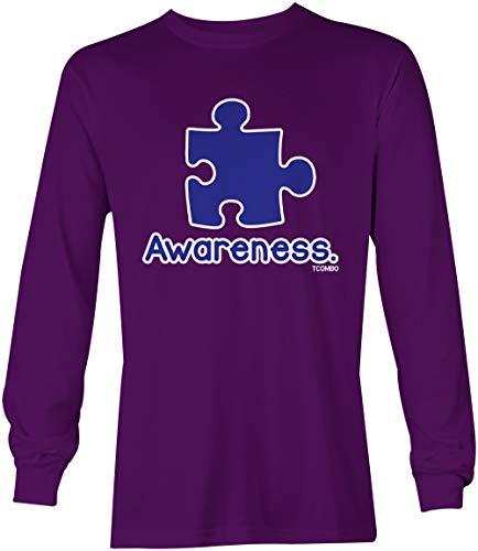 Awareness Puzzle Piece - Autism Awareness Unisex Long Sleeve Shirt (Purple, X-Large)