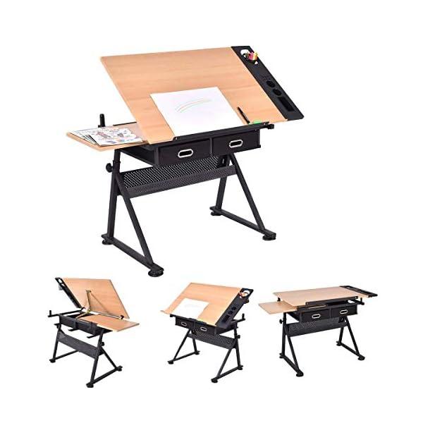 D4P Display4top inclinabile da Tavolo redazione Disegno scrivania Regolabile in Altezza e Due cassetti per Disegno… 3 spesavip