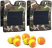 TOPRADE Stick Ball Vest Dodge Ball Game Sticky Target Ball Vest Outdoor Game Props with Soft Fleece Balls Safe