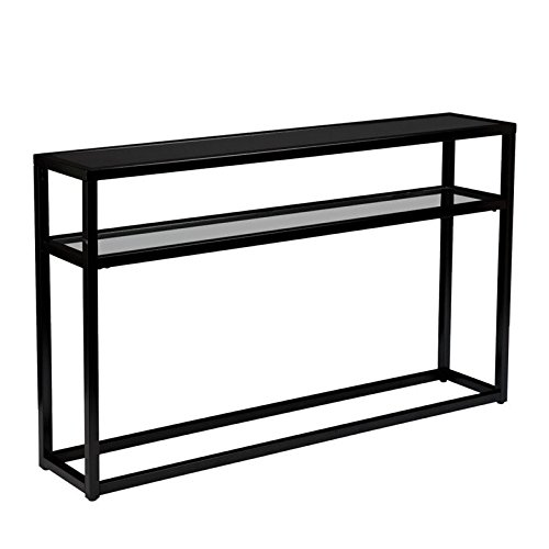 - Baldrick Glass Media Console Table - Space Saving w/ Slim Profile - 2 Tier