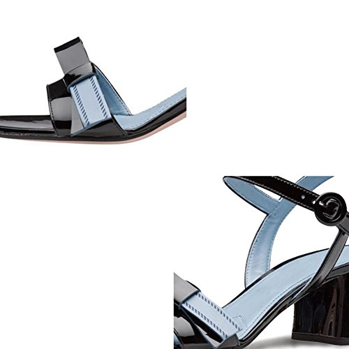 Zapatos Negro Mujer UK3 Negro Tamaño sandalias Talón 5 Color Plástico Moda QIDI Verano De Salvaje Medio Temporada De EU36 EPUx14Aq