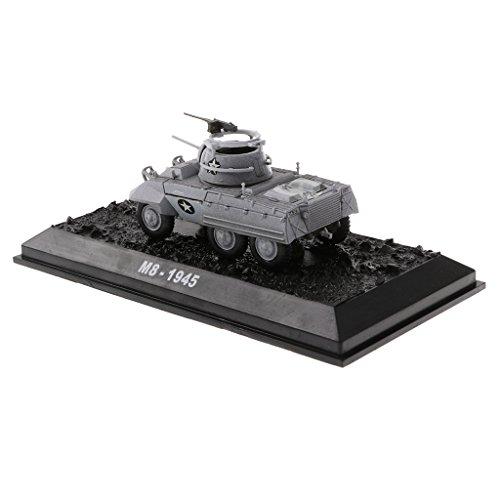 MagiDeal 1/72 Simulation Amer M8 1945 Greyhound Tank WWII US Armored Diecast Army Vehicle Car Model - Car Armored M8 Greyhound