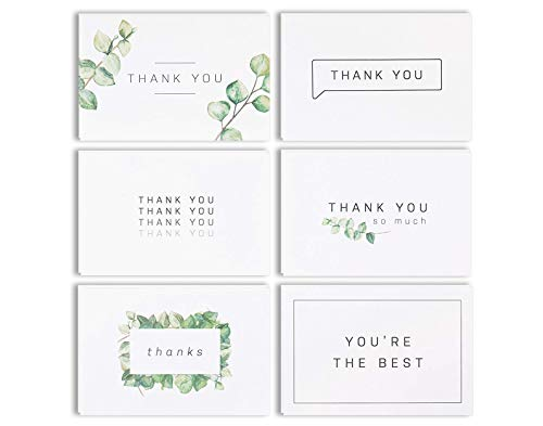 Blank Watercolor Thank You Cards: 36 Assorted Boxed Pack - Elegant Floral Green & Black & White Card Designs: Bulk Note Box for Graduation, Wedding, Bridal Party, Baby Shower, Men - Thank White You Cards