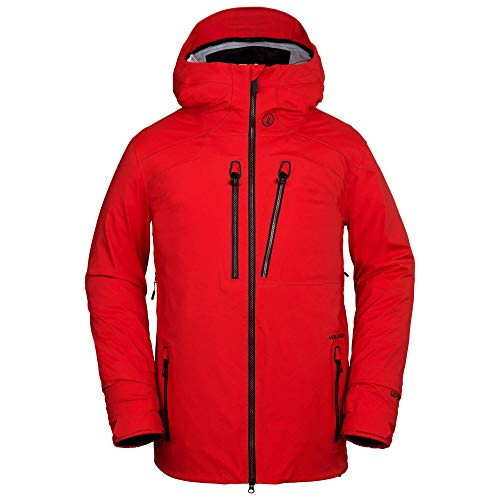 (Volcom Men's Guch 3 Layer Stretch Gore-Tex Snow Jacket, fire red, Large)