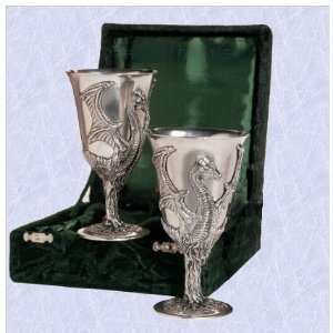 (mythical dragon goblets glass s mystic cups mugs (set of two with box) the digital angel)