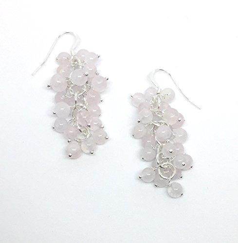 Genuine Semi Precious Stone Grape Cluster Style Dangle Earrings (6 - rose quartz round beads with silver) (Quartz Rose Cluster Earrings)