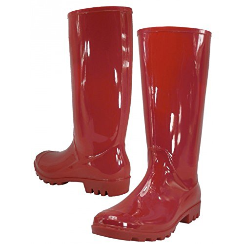 Boots for Rubber Rain Waterproof Red Stylish Ladies Women Boots qwnTFfqA