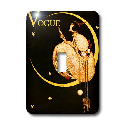 3dRose LLC lsp_155317_1 Art Deco Magazine Cover with Lady and Moon Single Toggle Switch