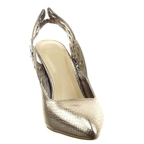Sopily - Chaussure Mode Escarpin Stiletto Ouverte Cheville femmes Peau de serpent Talon haut aiguille 9 CM - Gris