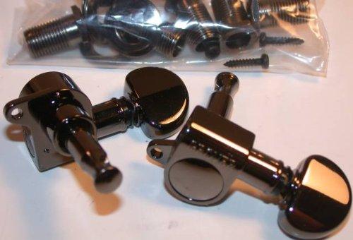 Mini Rotomatic Guitar Tuners (Grover Mini Rotomatics Guitar Machine Heads, 6-In-Line, Black Nickel, 205BN6)