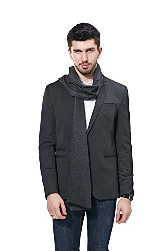 FULLRON Men Winter Scarf Long Cashmere Scarves, Grey Cotton Scarf for Men by FULLRON (Image #4)