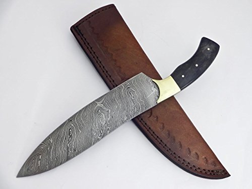 Poshland RK-237 B, Style Damascus Steel Chef Knife – Brass Bolsters & Colored Bone Handle