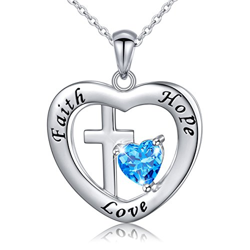 Sterling Silver Engraved Faith Hope Love Inspirational Cross Love Heart Necklace, ()