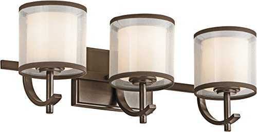 Kichler 45451MIZ Lighting Tallie Three Light Swing Arm Bath Vanity, Mission Bronze Finish with Satin Etched White Glass with White Organza/Brown ()