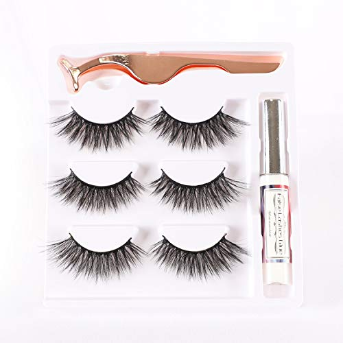 Yiwamica False Eyelashes with Glue 3D False lashes Kit 3 Pairs with Tweezers