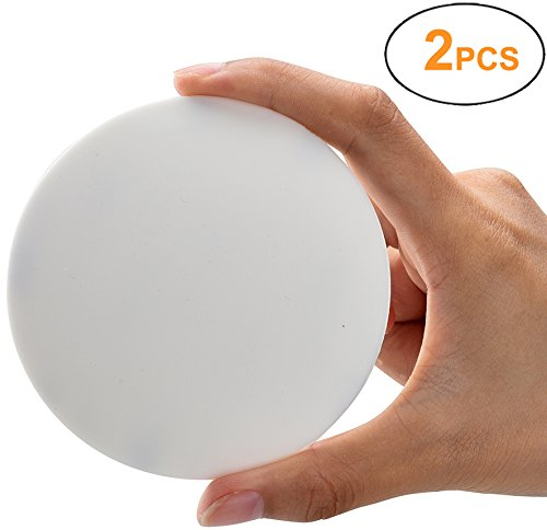"Door Knob Wall Shield , White Round Soft Rubber Wall Protector Self Adhesive Door Handle Bumper Pack of 2 (Large Round Style 3.54"", White)"