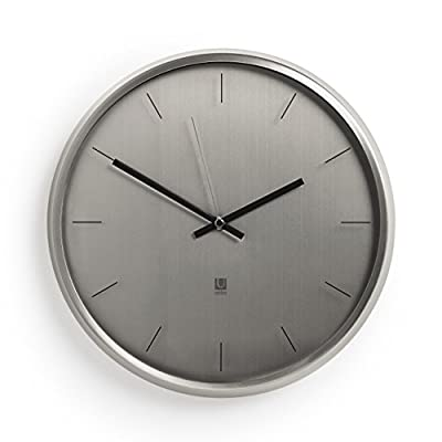 "Umbra Meta Wall Clock, Nickel Quiet, Non Ticking and Silent, Easy to Read Indoor Round Wall Clocks With Solid Metal Frame - Measures 12 ½'' by 1 ½""- Great for Home, Office, Kitchen, Bedroom - MODERN AND SLEEK: With its soft lines, smoothed edges, and polished nickel finish, Meta can add an air of sophistication and elegance to any room ALL UMBRA CLOCKS ARE TESTED IN-HOUSE: Inside our factories is a wall where every single one of our clocks is tested to make sure it ticks just right. Meta comes with mounting hardware and has silent sweeping quartz clock mechanisms. CLASSIC CLOCK SIZE: Measuring 12.5 x 1.5 inches, Meta can act as a standalone piece or accompany a broader series of wall décor - wall-clocks, living-room-decor, living-room - 41HXiuPue0L. SS400  -"