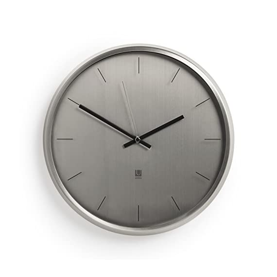 """Umbra Meta Wall Clock, Nickel Quiet, Non Ticking and Silent, Easy to Read Indoor Round Wall Clocks With Solid Metal Frame - Measures 12 ½'' by 1 ½""""- Great for Home, Office, Kitchen, Bedroom - MODERN AND SLEEK: With its soft lines, smoothed edges, and polished nickel finish, Meta can add an air of sophistication and elegance to any room ALL UMBRA CLOCKS ARE TESTED IN-HOUSE: Inside our factories is a wall where every single one of our clocks is tested to make sure it ticks just right. Meta comes with mounting hardware and has silent sweeping quartz clock mechanisms. CLASSIC CLOCK SIZE: Measuring 12.5 x 1.5 inches, Meta can act as a standalone piece or accompany a broader series of wall décor - wall-clocks, living-room-decor, living-room - 41HXiuPue0L. SS570  -"""