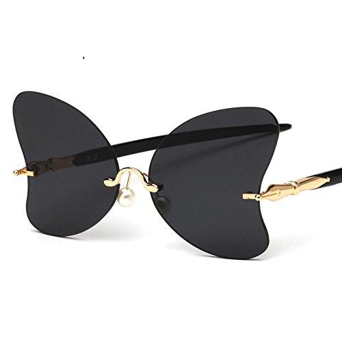 Bastidor Negro Gafas TIANLIANG04 La De Sol Mariposa Gray Black De Gafas Rojo De Sol Mujer Perla Femenino De Decoración Gafas Sin La Vintage Señor XddqRa
