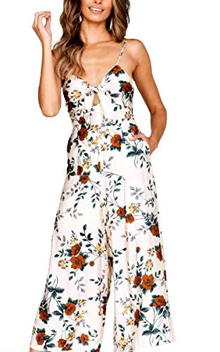 ECOWISH Womens Floral Tie Front V-Neck Spaghetti Strap Jumpsuits Backless Loose Fit Casual Rompers with Pockets Beige L