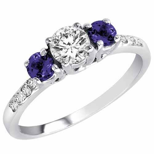 Ryan Jonathan Sterling Silver Round 3 Stone Diamond and Blue Sapphire Engagement Ring With Pave Set Shank (1.00 cttw)