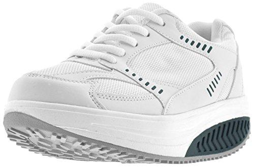 EGLEMTEK® Trainingsschuhe mit Rundsohle, Sportschuhe, Fitnessschuhe zum Laufen, bieten Komfort, für Damen white with blue inserts