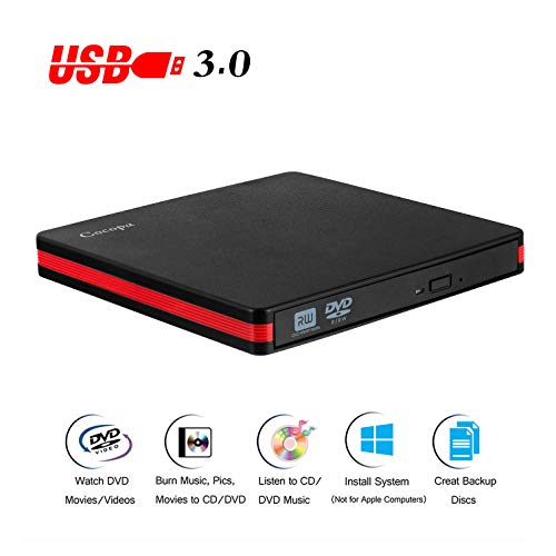 Cocopa External CD DVD Drive USB 3.0 Portable CD DVD +/-RW Drive Slim DVD/CD ROM Rewriter Burner Writer, High Speed Data Compatible with Laptop Desktop MacBook Windows10/8/7/XP/Vista/Mac OS(RED)