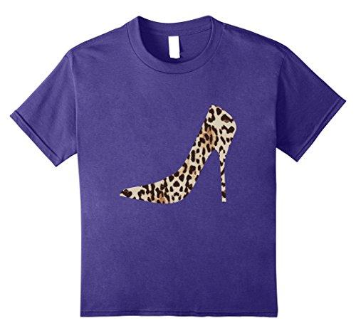 Gepard Leopard Stilettos T-shirt Høy Høyhælte Sko Pumper Lilla