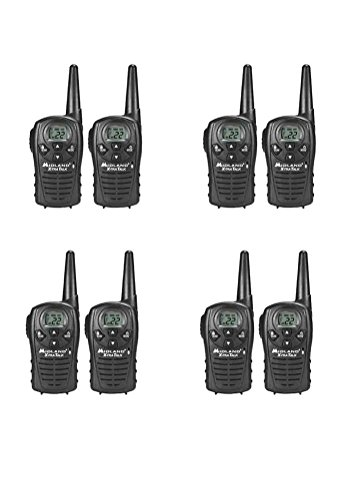 Midland LXT118X8 FRS Walkie Talkies with Channel Scan - Up to 18 Mile Range Two Way Radio - Black (Pack of ()