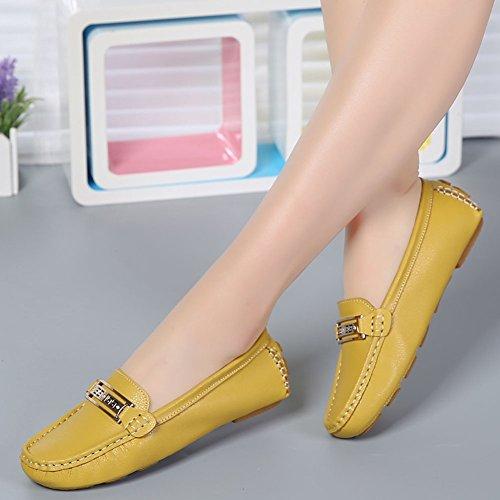 Damen Casual Slipper Mokassin Bootsschuhe Leder Loafers Schuhe Flache Fahren Halbschuhe Gelb