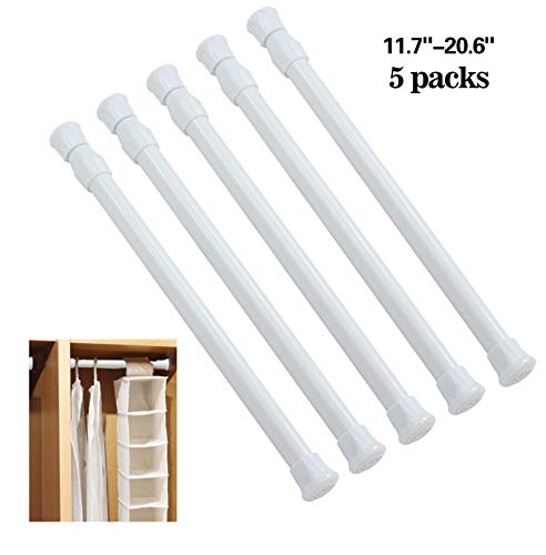 - ZFSOT Tension Rod Cupboard Bars Spring Curtain Rod Adjustable Tension Rods White Window Rods for Curtains Extendable Width 11.7 Inch-20.6 Inch 5 Pack Extendable Rod Fit in The Spaces to Stay Up