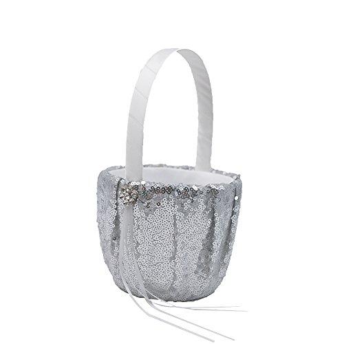 Abbie Home Sequin Glitter Wedding Flower Basket Rhinestone Décor Wedding Party Favor (Silver Basket) by Abbie Home