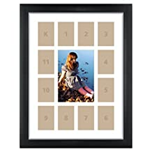 Craig Frames 12x16-Inch Picture Frame, Single White Collage Mat with 13 Openings, Black