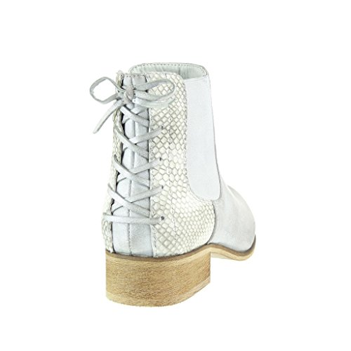 Angkorly - Zapatillas de Moda Botines chelsea boots cavalier stile vendimia mujer piel de serpiente nodo encaje Talón Tacón ancho 3 CM - Plata