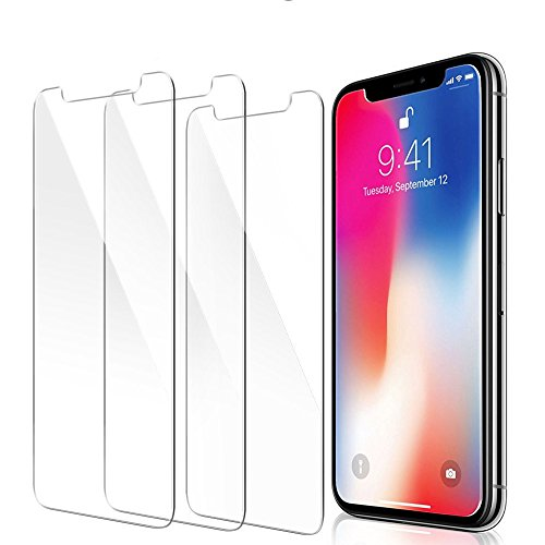 iPhone X Screen Protector,iPhone XS Screen Protector, 3-Pack Novo Icon Tempered Glass Screen Protector 3D Touch Crystal Clear Screen Protector Glass Film for iPhone X/XS